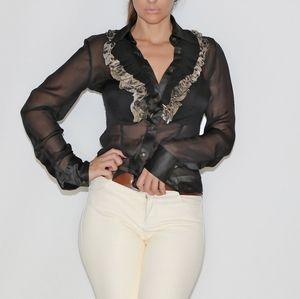 JUST CAVALLI Black Silk Long Sleeve Blouse Top